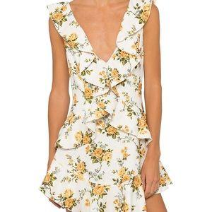 Zimmermann Golden Flutter Floral Linen Dress